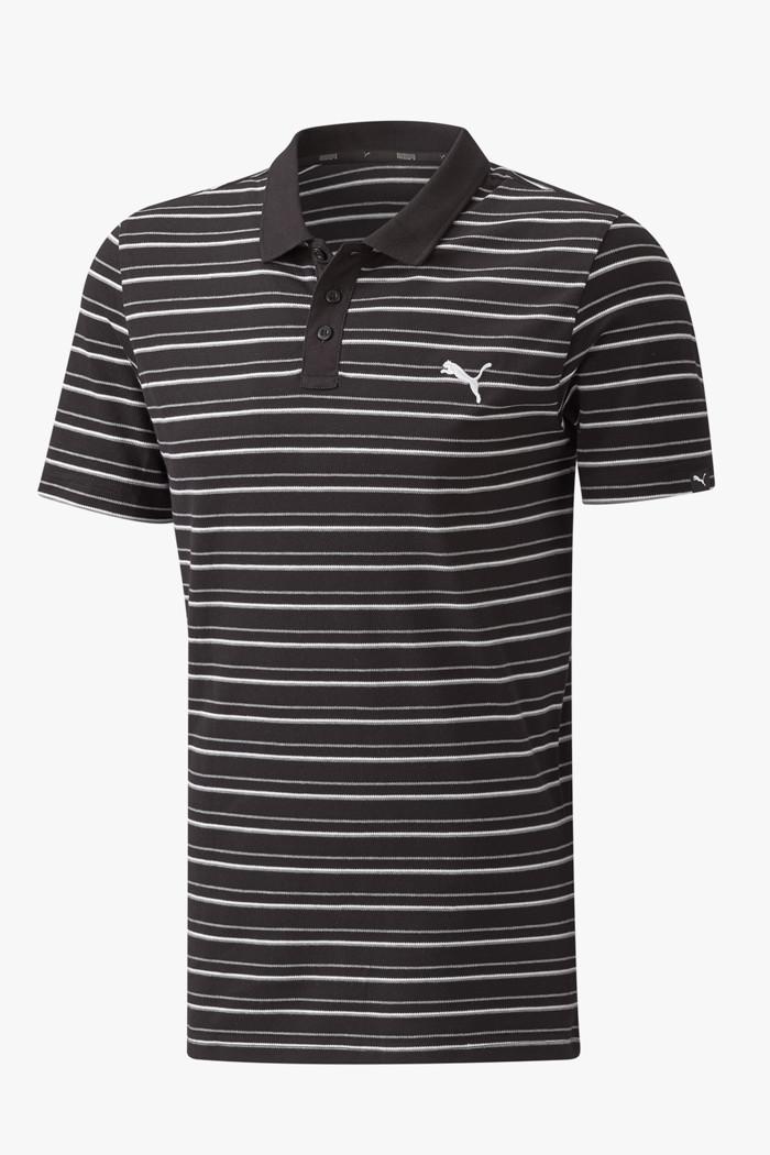 Essentials Sports Stripe Pique Herren Poloshirt in schwarz