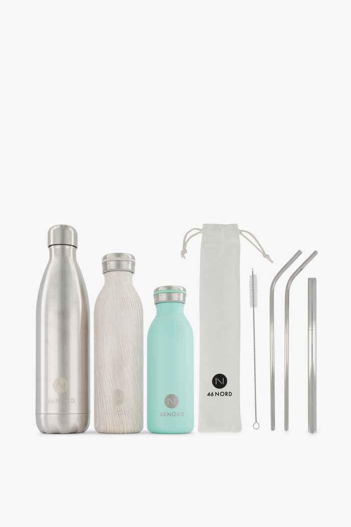 46 Nord Trinkflaschen Set + Strohhalme Farbe Grün-braun 1