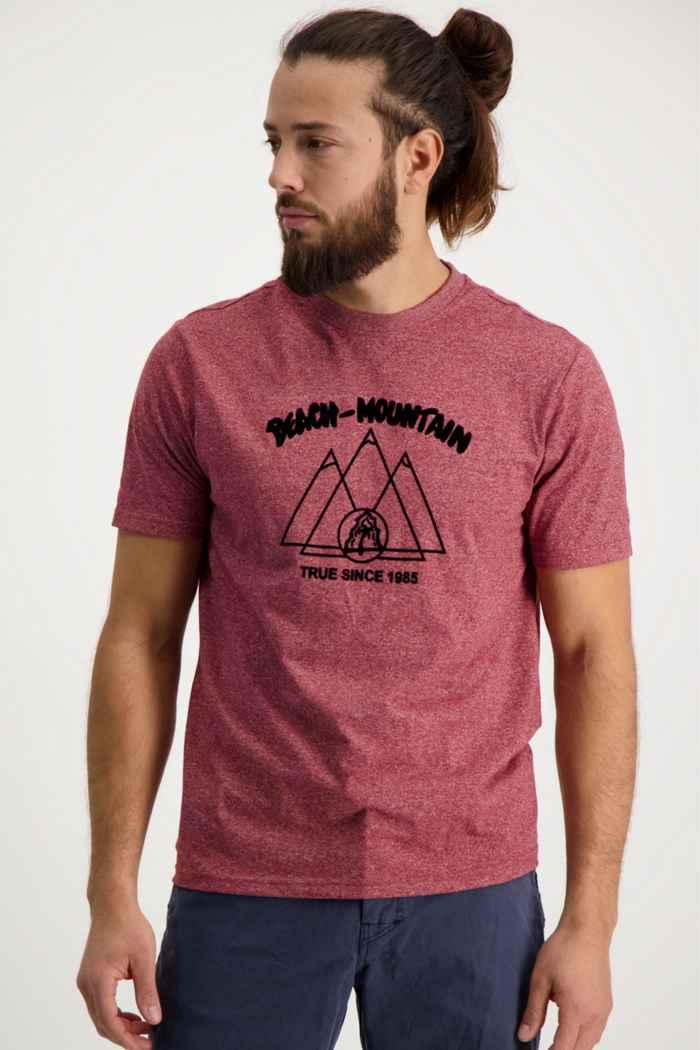 Beach Mountain t-shirt hommes Couleur Bordeaux 1