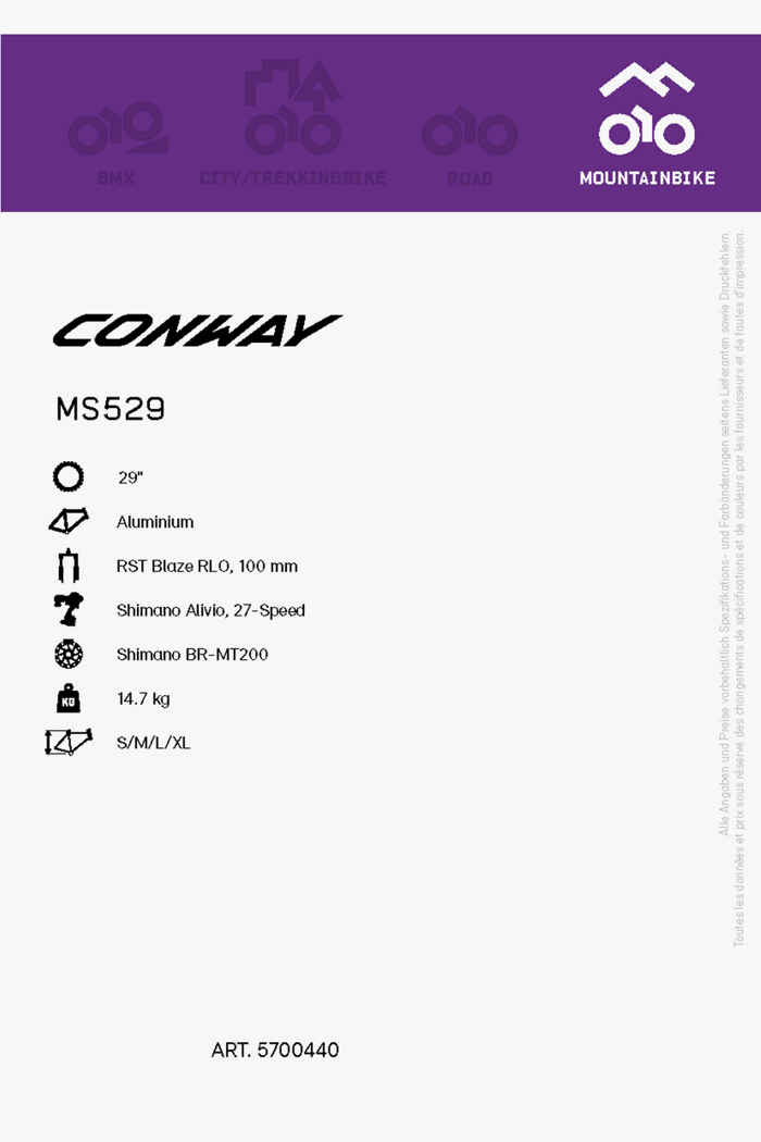 Conway MS 529 29 mountainbike hommes 2021 2