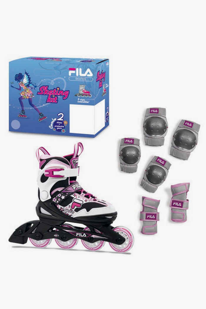 Fila Combo Mädchen Inlineskates + Schoner Set Farbe Pink 1