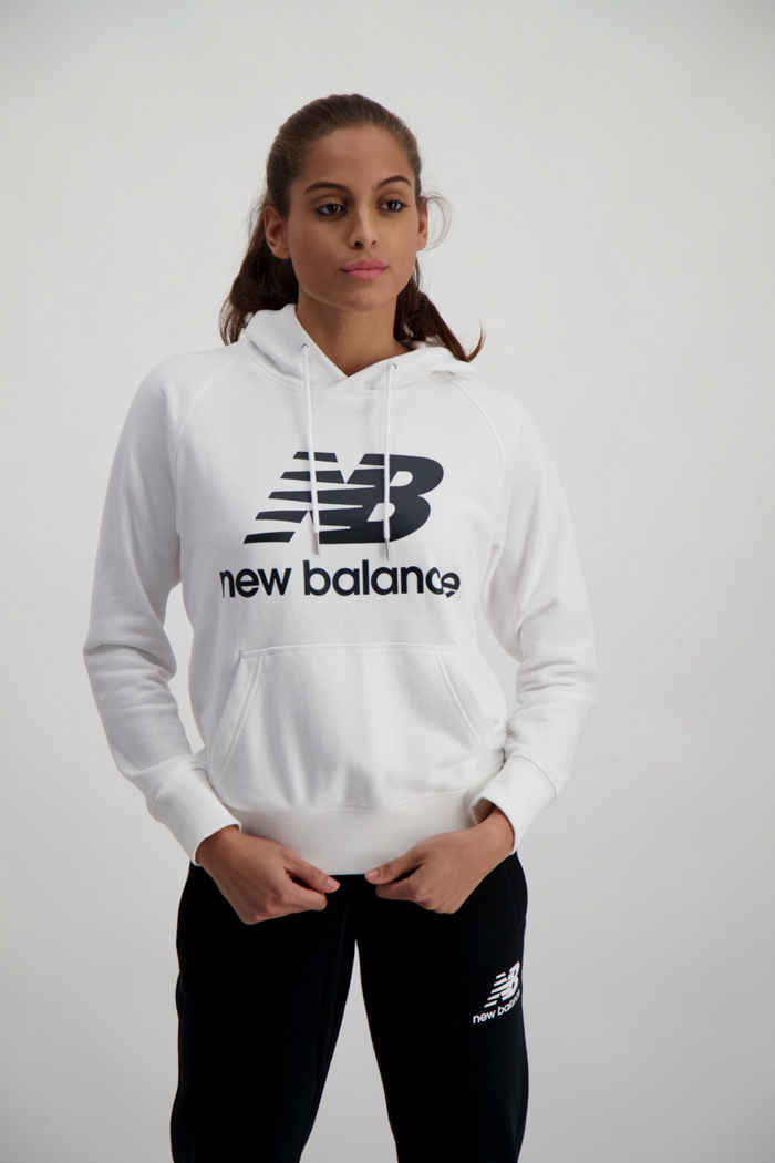 New Balance Essentials Stacked Logo hoodie donna Colore Bianco 1