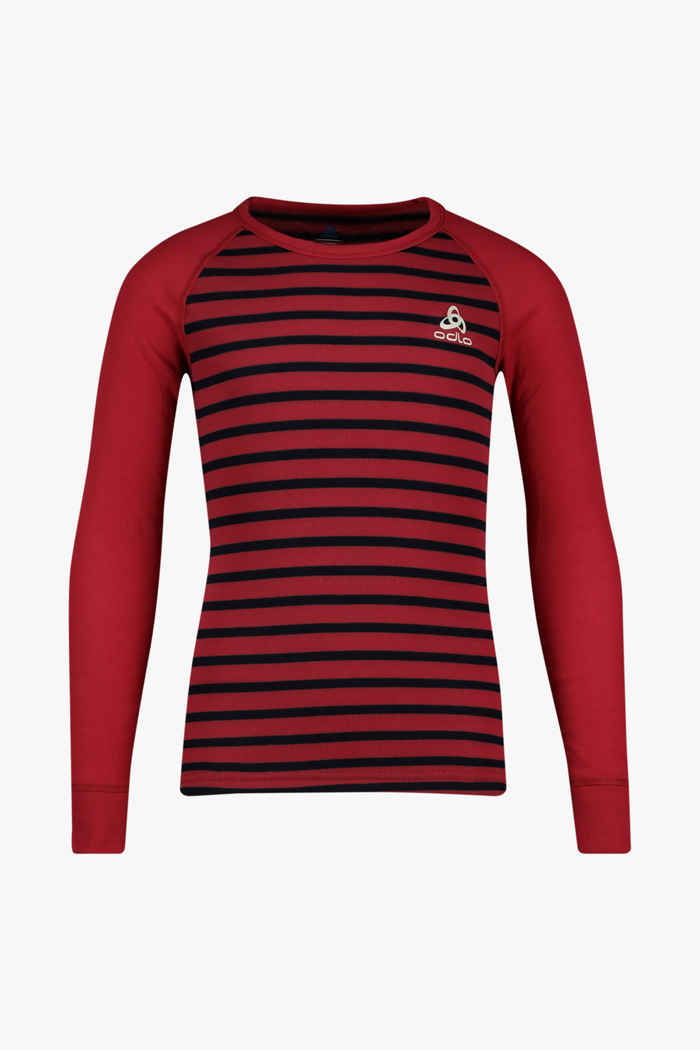 Odlo Active Warm ECO Stripes Kinder Thermo Longsleeve Farbe Rot 1