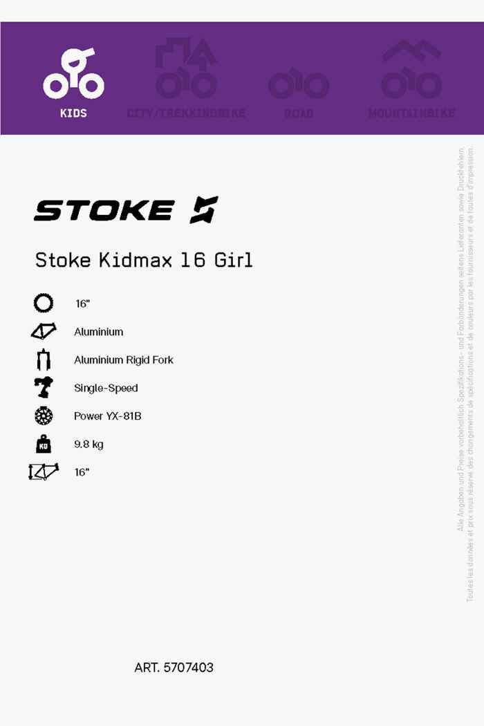 Stoke Kidmax 16 citybike filles Couleur Rose vif 2