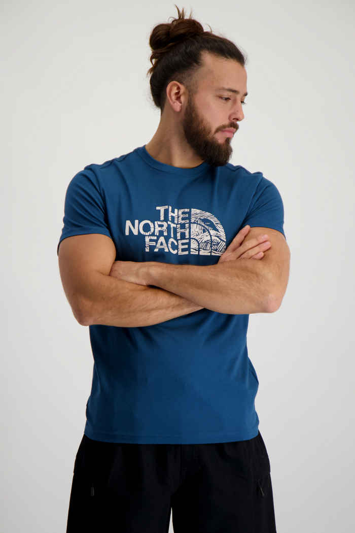 The North Face Woodcut Dome Herren T-Shirt Farbe Petrolblau 1