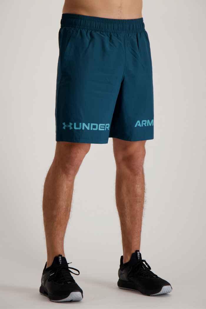 Under Armour UA Woven Graphic Wordmark short hommes Couleur Bleu pétrole 1